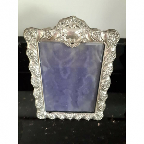 Antique Victorian Solid Sterling Silver Photo Frame c1897